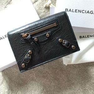 BALENCIAGA BLACK LEATHER CLASSIC CARD CASE